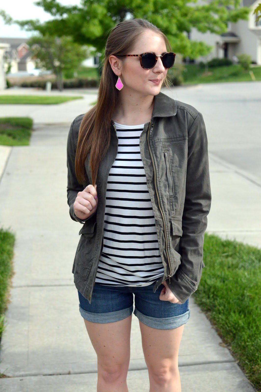 denim shorts and a military jacket | what to wear with jean shorts |how to wear your military jacket in the spring | spring looks | striped top | pink earrings | a memory of us