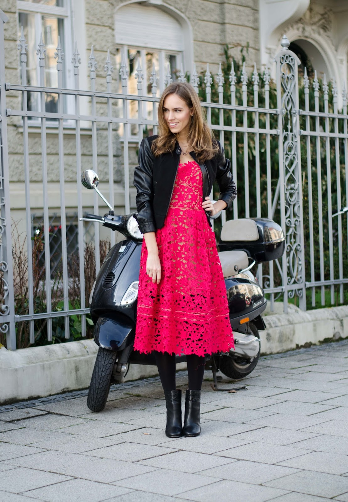 kristjaana mere red lace dress black jacket valentines day outfit