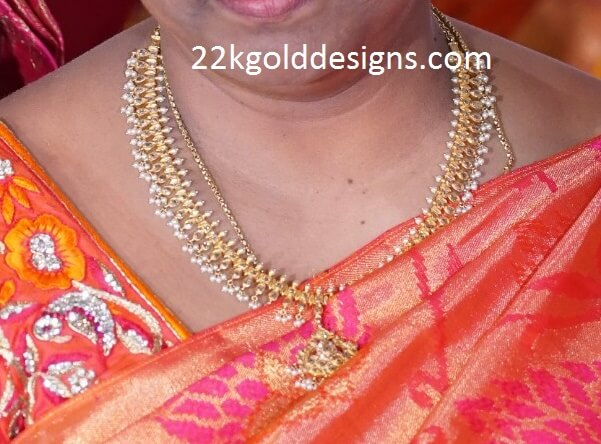 Small Pearls Uncut Diamond Necklace 22kgolddesigns