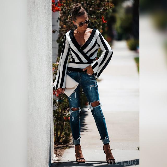 Μεσάτη  μαύρη - άσπρη γυναικεία μπλούζα VALARA
