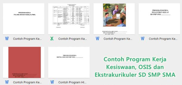Contoh Program Kerja Kesiswaan, OSIS dan Ekstrakurikuler SD SMP SMA