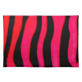 Pink zebra print place mat