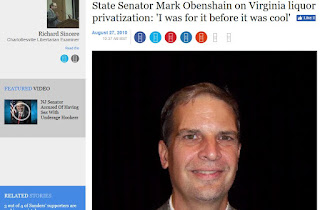 Mark Obenshain liquor law Prohibition privatization ABC Harrisonburg Virginia politics