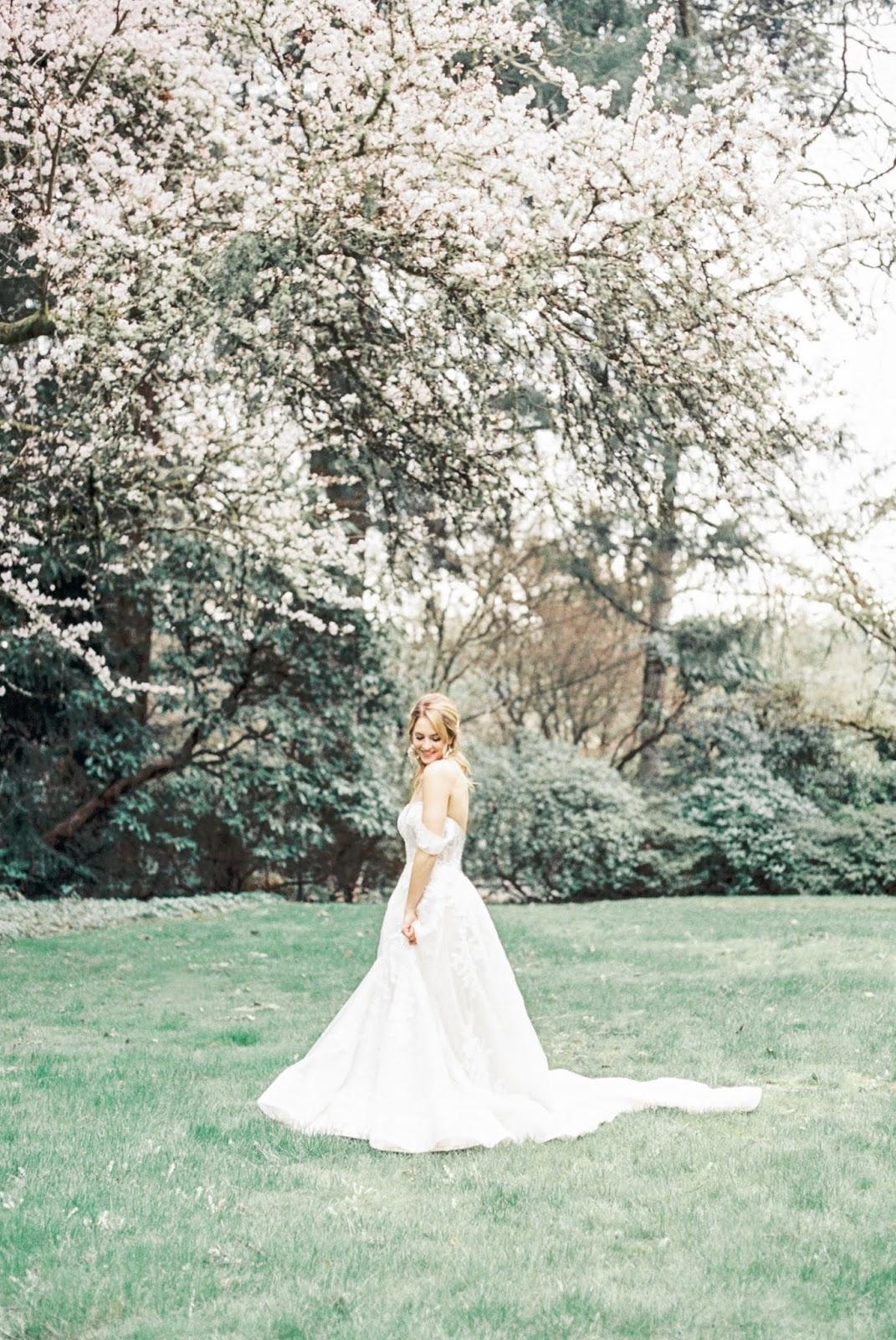 Cherry Blossom Bridal Session-Lakewold Garden Wedding Photographers-Something Minted