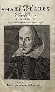 """Shakespeare's portrait engraving by Martin Droeshout on the title of """"First Folio"""" (1623)"""