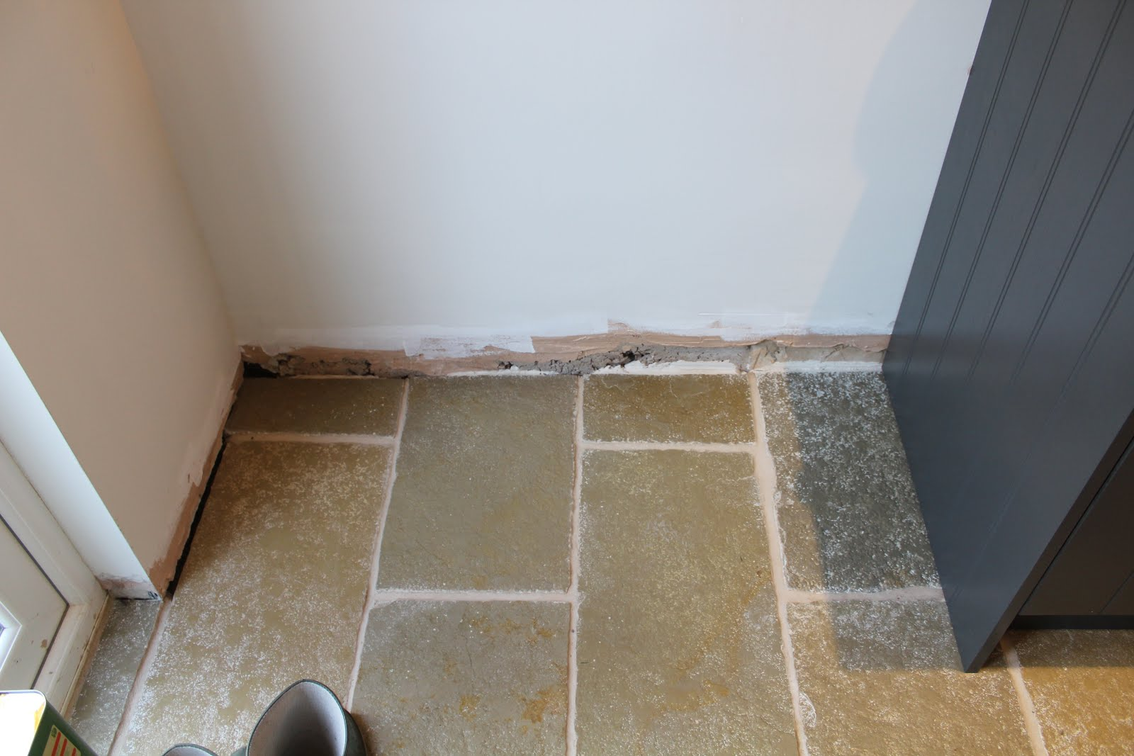 Limestone floor with strong white walls