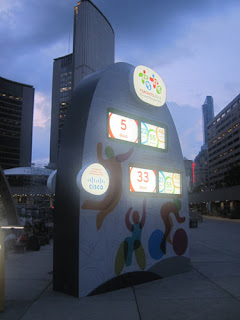 Pan Am Games Countdown Clock At Night.