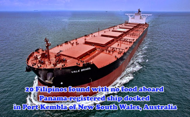 20 Filipinos found with no food aboard Panama-registered ship docked in Port Kembla of New South Wales, Australia