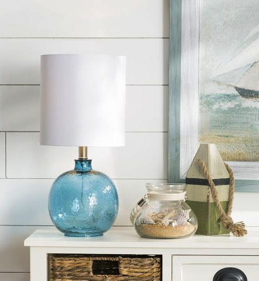 Small Blue Ocean Glass Table Lamp
