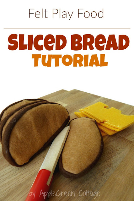 felt play food tutorial - how to make felt sliced bread. A cute and easy craft!