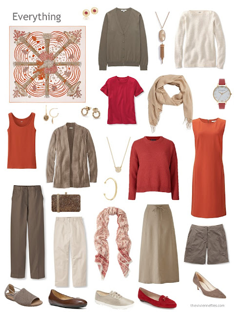 an 11-piece capsule wardrobe in brown, beige, orange and red