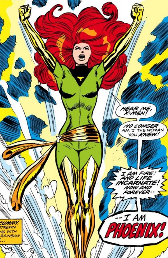 Jean Grey bursts out of the ocean. She wears a skintight green superhero outfit with shining gold gloves, thigh high boots, and sash. Her dialogue says, 'Hear me, X-Men! No longer am I the woman you knew! I am fire and life incarnate! Now and forever--I am PHOENIX!'