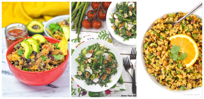 photo of three vegan grain salads
