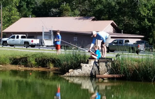 Fishing with the kids at Lake Burton Hatchery.