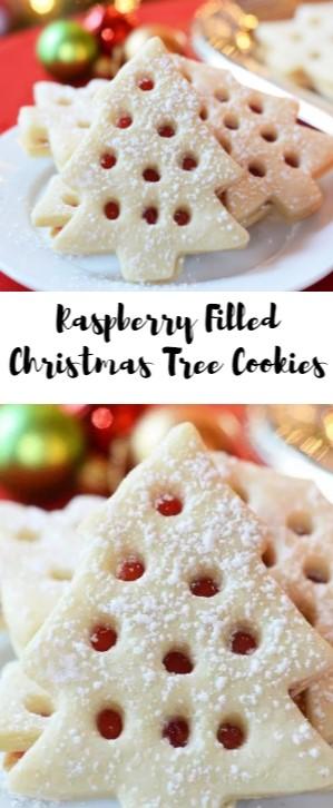 Raspberry Filled Christmas Tree Cookies #christmas #cookies