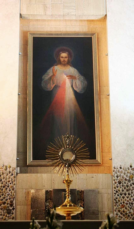O primeiro quadro da Divina Misericordia  Hoje no Santuário da Divina Misericórdia em Vilnius, Lituânia