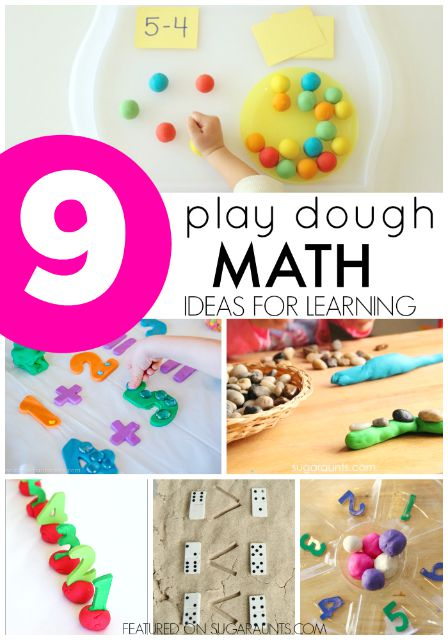 Ideas to use play dough in math.   Kids love this creative way to practice math skills and concepts.