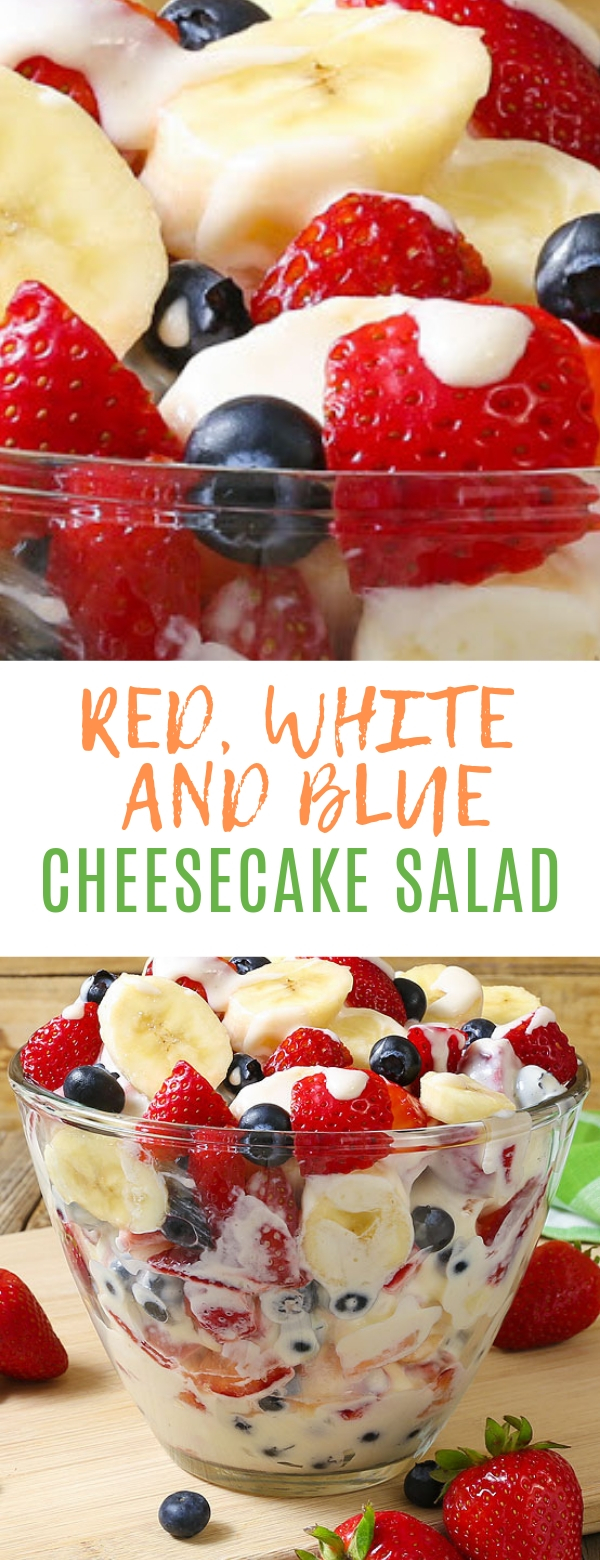RED, WHITE AND BLUE CHEESECAKE SALAD #cheesecake #salad