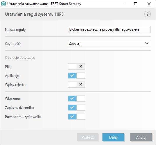 Ustawienia zaawansowane HIPS w Eset Smart Security