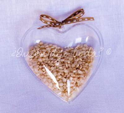 Arroz para boda en caja corazón