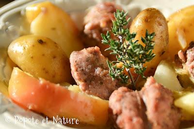 Rata de rattes du Touquet aux saucisses de Toulouse, chou blanc et pommes © Popote et Nature