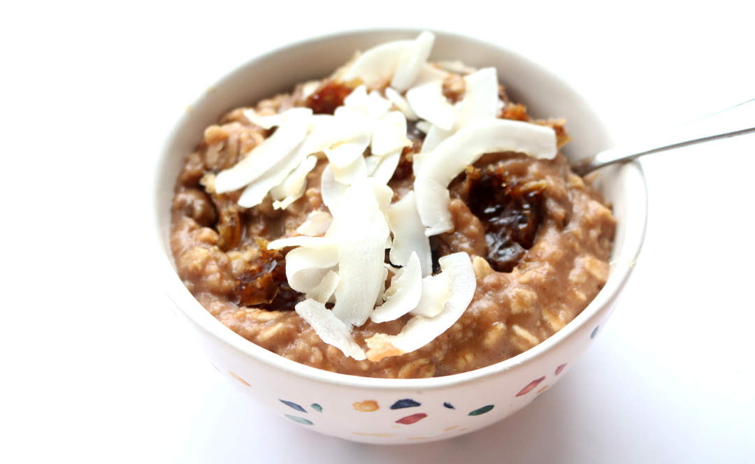Cacao & Barley Flakes Porridge with Sliced Dates and Flaked Coconut