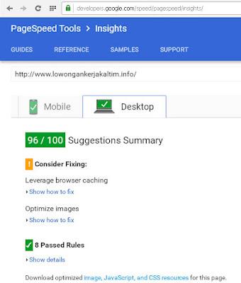 lowongankerjakaltim.info-valid-google-page-speed-insight-versi-desktop