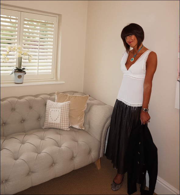 My Midlife Fashion, ASOS lace trim camisole, zara pleated metallic midi skirt, metallic ballet pumps, zara military jacket