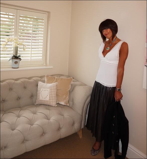 My Midlife Fashion, ASOS lace trim camisole, zara pleated metallic midi skirt, metallic ballet pumps, zara military jacket