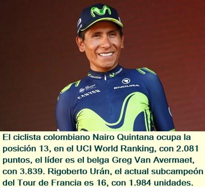 Nairo Quintana, mejor colombiano en el UCI Ranking Mundial