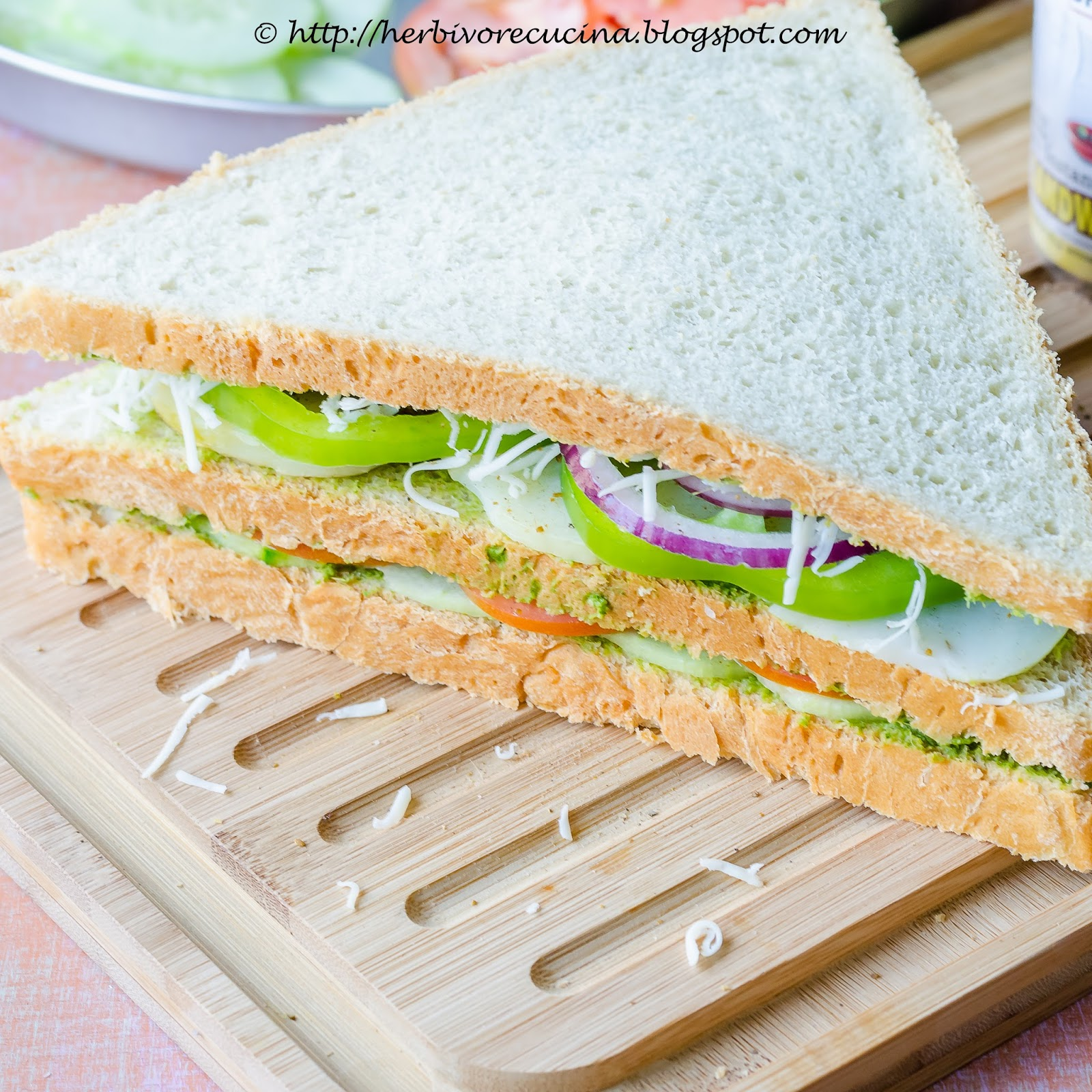 toast the sandwich with butter. Slice and serve with cilantro chutney ...