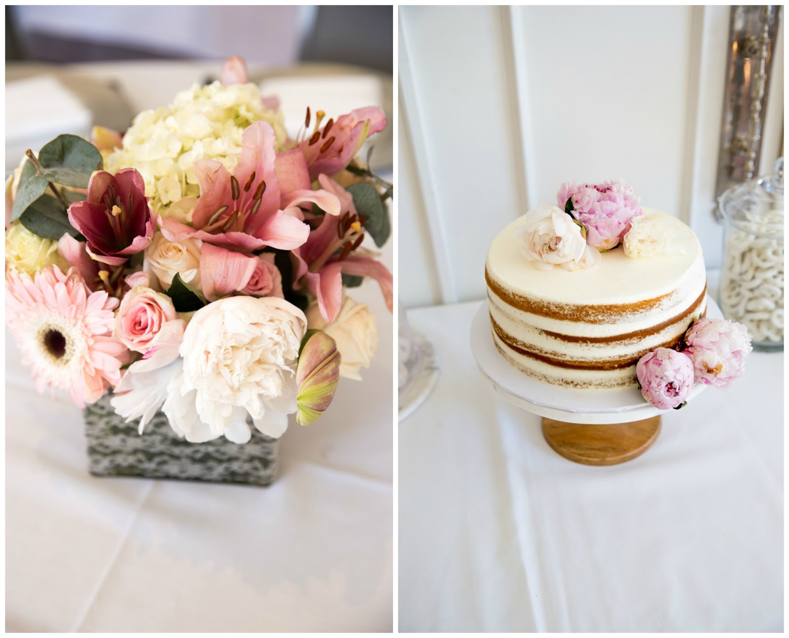 baby sprinkle peony centerpieces naked cake