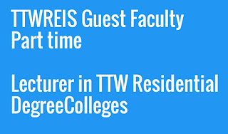 TTWREIS Guest Faculty Part time Lecturer in TTW Residential Degree Colleges