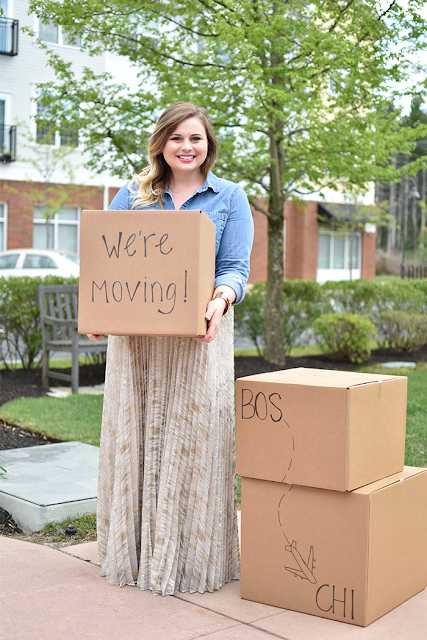 moving announcement idea chambray shirt target style anthropologie skirt etsy betsy pittard turqoise cuff bracelet curled ombre hair bright pink lipstick boston blogger chicago blogger moving to chicago