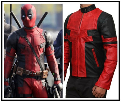 Gambar Model Jaket Kulit Deadpool Hitam Merah