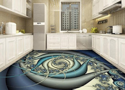 3D floor murals with epoxy flooring paint for kitchen