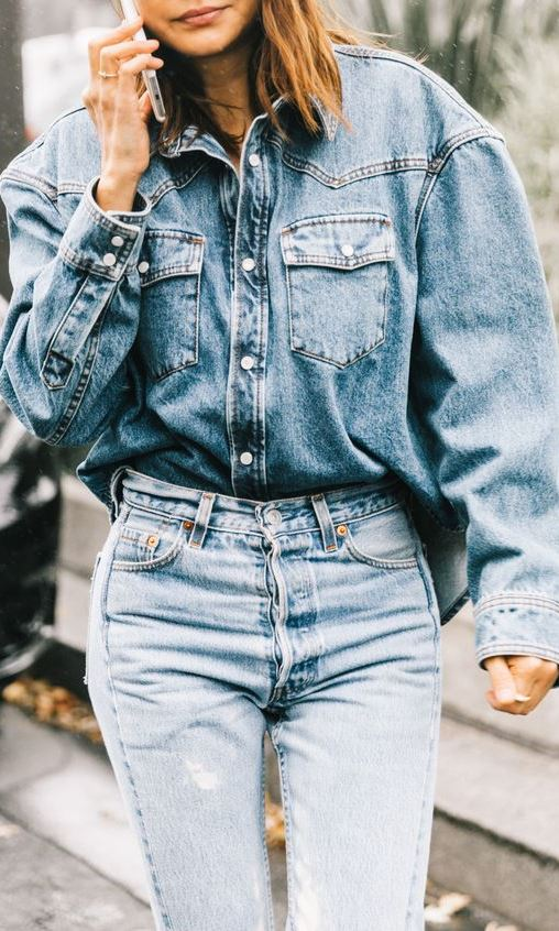trendy double denim outfit