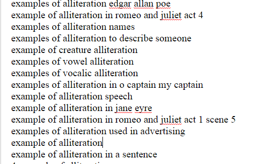 Literary and Example : Example of Alliteration in word