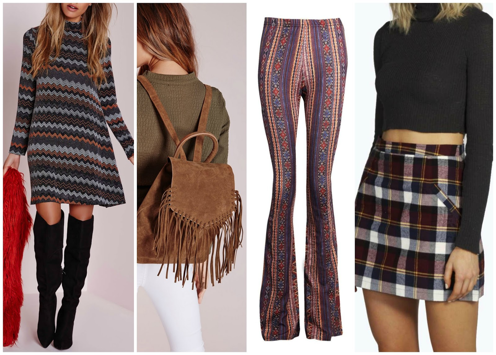Missguided, Boohoo, casual clothes, suede backpack, swing dress, flared trousers, 100 ways to 30