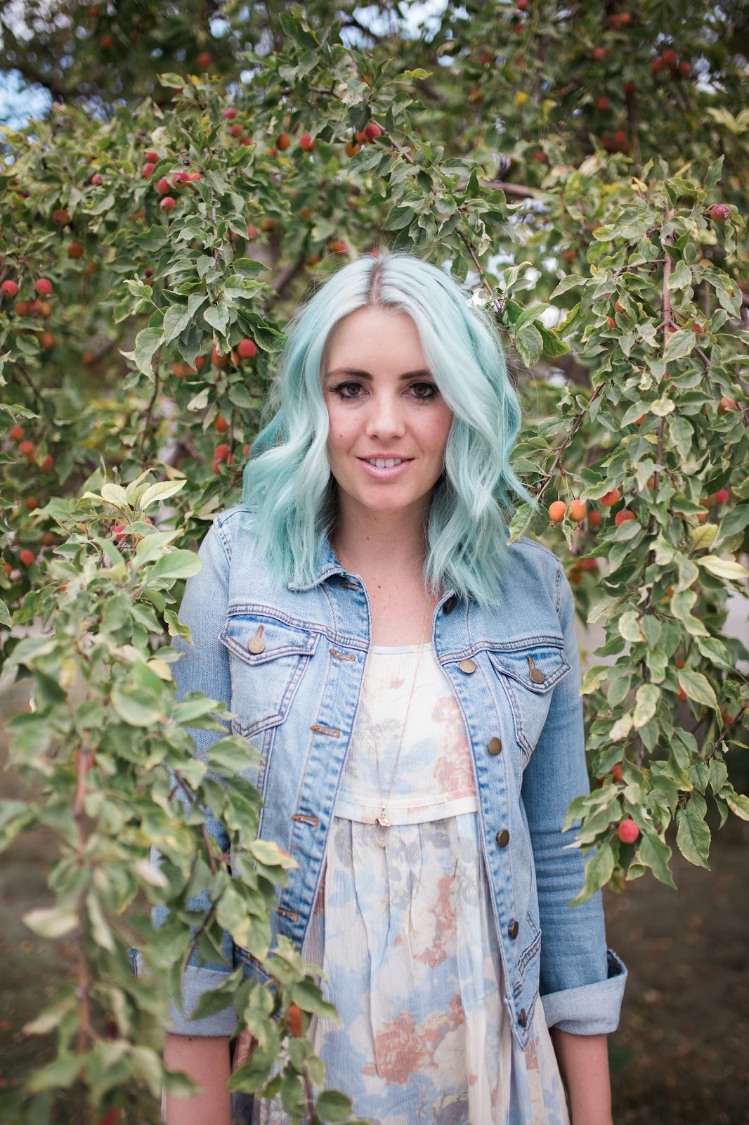 Blue Hair, Floral, Fashion Blogger