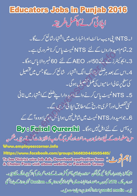 complete process for apply on NTS Educators jobs in Punjab 2016.