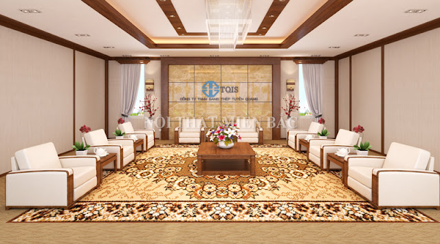 Thiết kế nội thất phòng khánh tiết sử dụng hệ thống ghế sofa đơn bọc da cao cấp, hệ thảm trải với những họa tiết bắt mắt