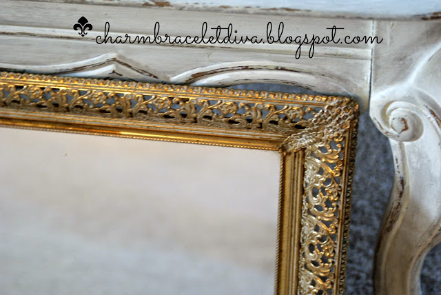 Vintage gold filigree mirrored tray