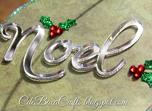 Christmas gift tag with holly and Noel mirror decorations by CdeBaca Crafts.