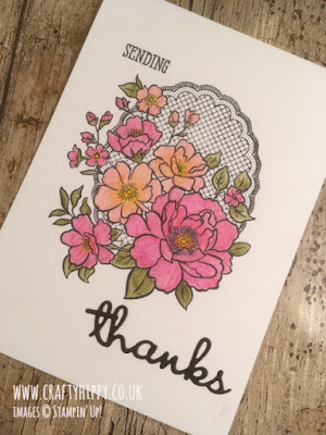 Hand-stamped floral thank you card made with the Lovely Lattice stamp set by Stampin' Up!