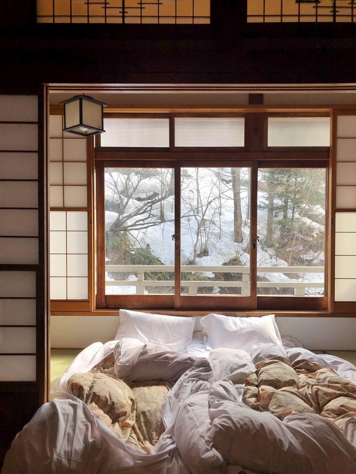 Ryokan stay, wooden japanese room, Biggest open-air bath onsen in Japan. Takaragawa Onsen, Minakami Gunma, Japan / FOREVERVANNY.com