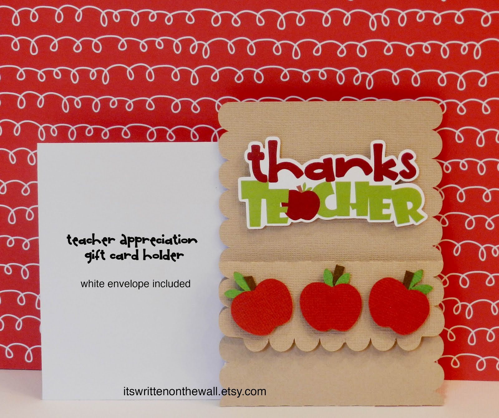 Teachers LOVE Gift Cards-Apple Themed Gift Card Holder
