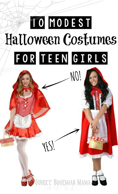 10 Modest Alternatives to Popular Halloween Costumes for Teen Girls. Modest Halloween costumes for teen girls, modest costumes. 10 Modest Versions of Popular Teen Girl Halloween Costumes.