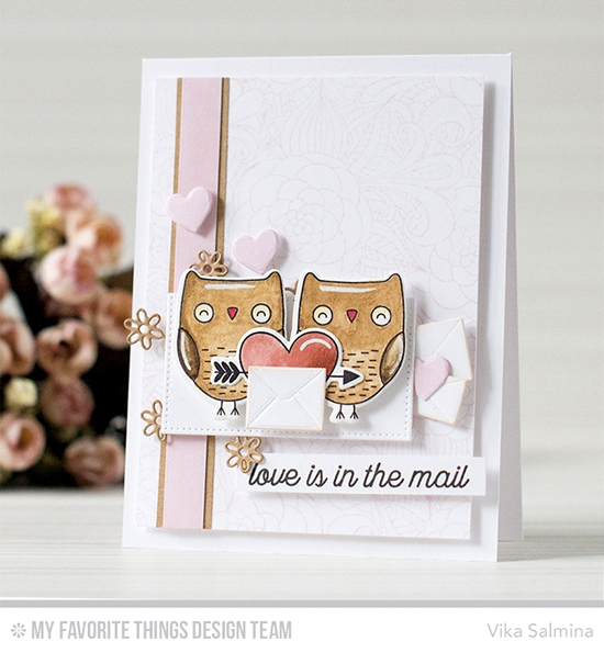 Handmade card from Vika Salmina featuring Love Is in the Mail stamp set, I'm Owl Yours stamp set and Die-namics, Floral Fantasy Background stamp, and Mailbox, Stylish Snowflakes, and Pierced Rectangle STAX Die-namics #mftstamps