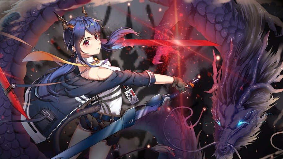 Anime, Girl, Fantasy, Dragon, Sword, 4K, #270